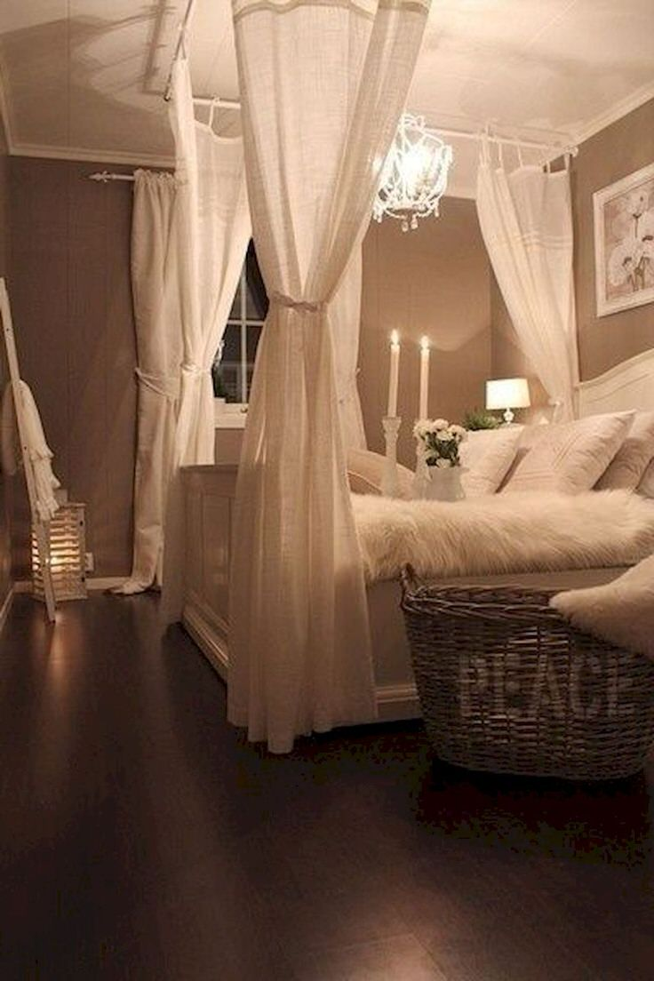 These Last Diy Bed Canopy Photos Are Inspirational Only From Pinterest Simple Curtain Rods Pointed To The Ceiling Muslin Fabric And Candles
