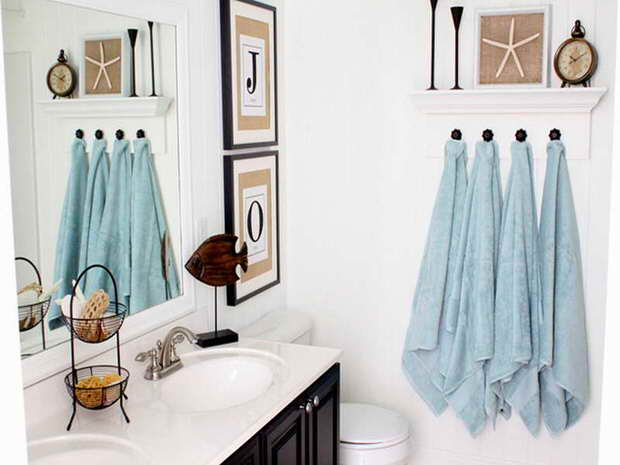 Bathroom d cor quick bathroom decorating on a budget for Beach decor bathroom ideas