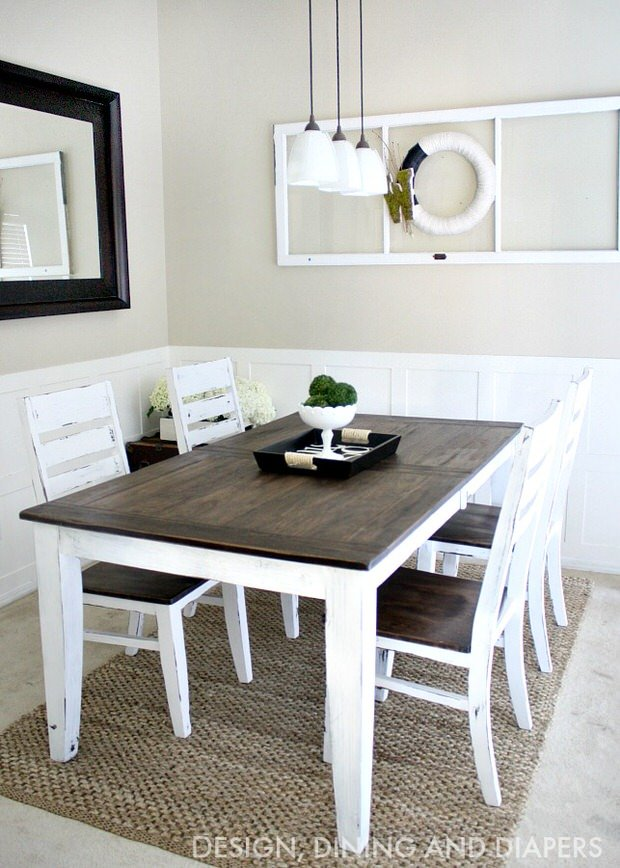 Diy dining table and chairs makeovers the budget decorator for Dining table color ideas