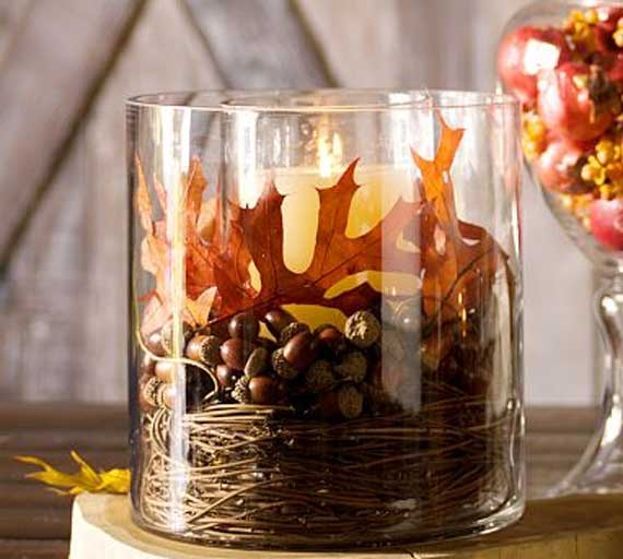Thanksgiving Decor- Fall Leaf Candle
