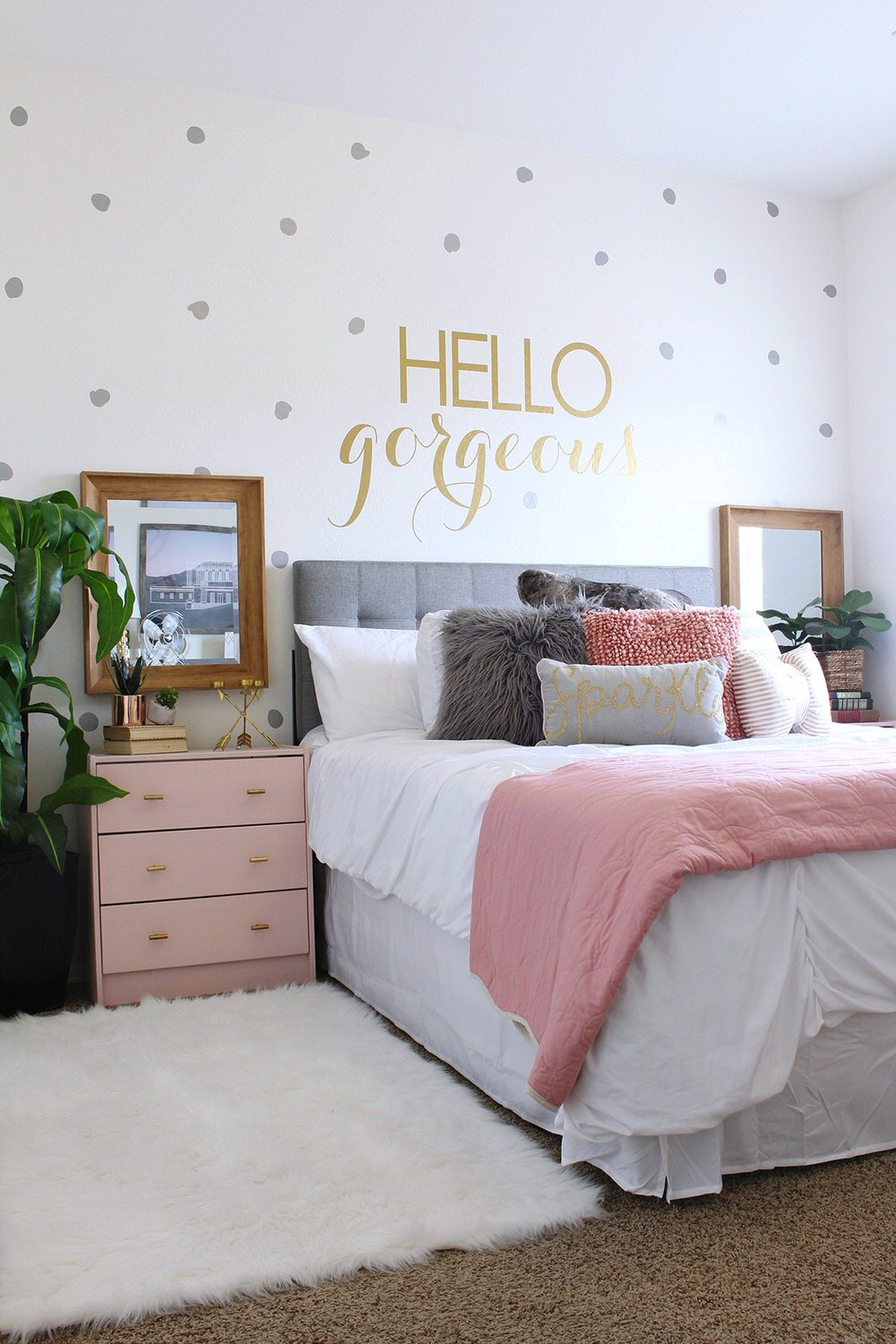 They Added Color In Pillows And Painted An Inexpensive Ikea Nightstands  This Soft Pink. They Purchased Their Headboard, But You Can Learn To Make  An ...
