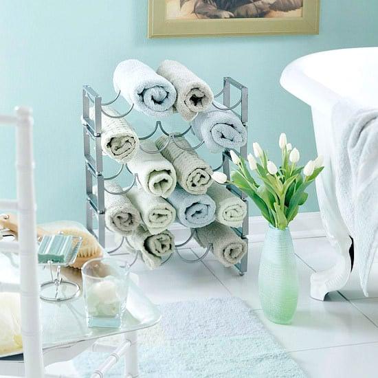 Guest Bathroom Towel Rack Display