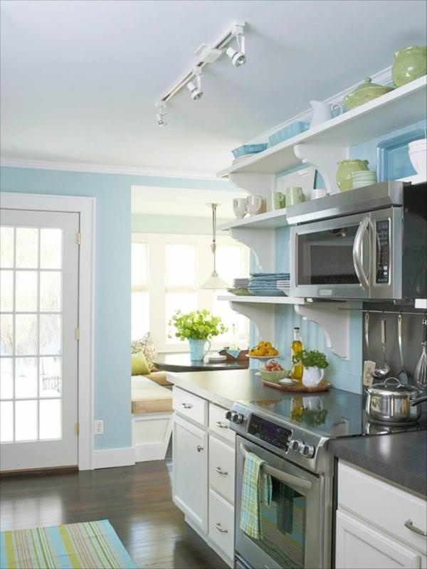 Quick kitchen makeovers on a dime o the budget decorator for Blue kitchen paint colors