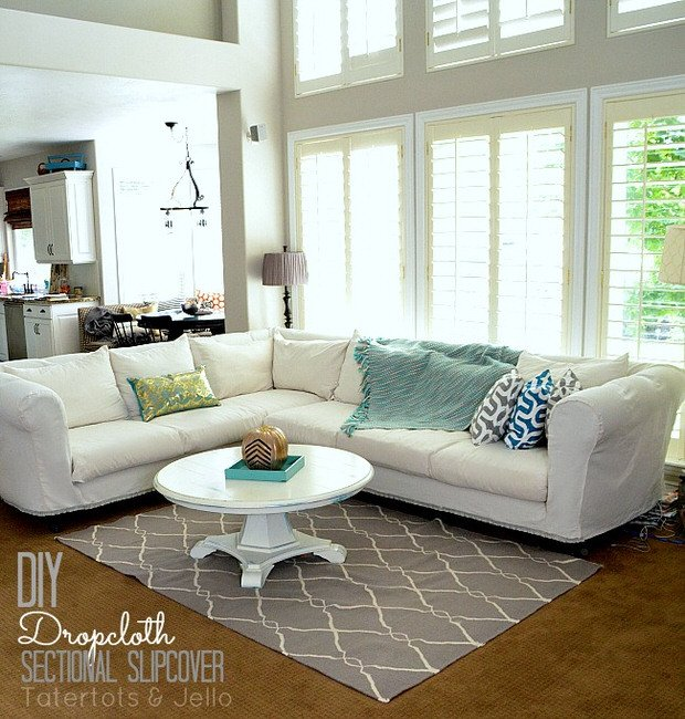 DIY drop cloth slipcover