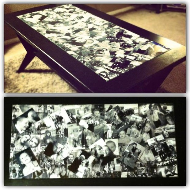 Family collage coffee table
