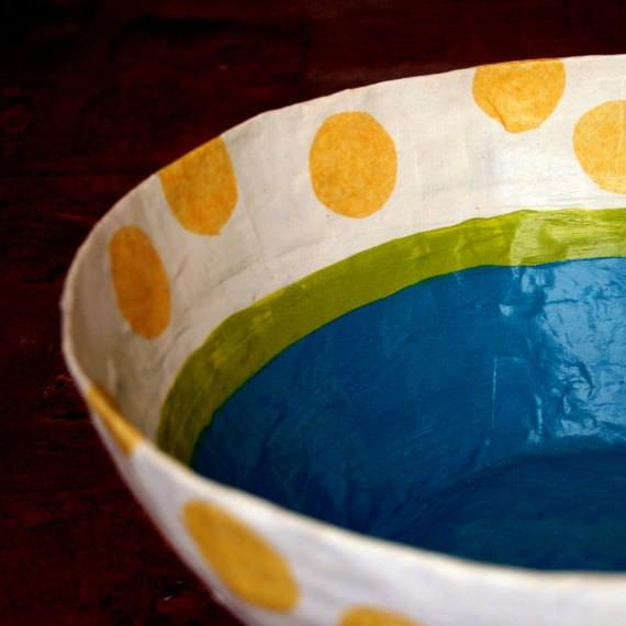 Make diy paper mache decorative bowls the budget decorator for How to make a newspaper bowl