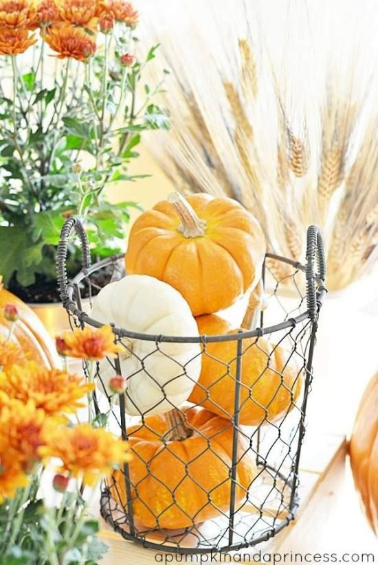 Fall Decorating : 10 Ways to Make Your Home Fall Cozy- Pumpkins in Wire Basket