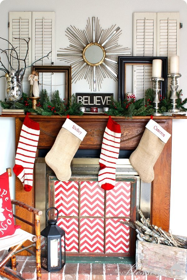 This Christmas Mantel Decorating Is Really Simpleu2026 A Greenery Garland, An  Ornament Wreath And A Couple Of Pink And ...