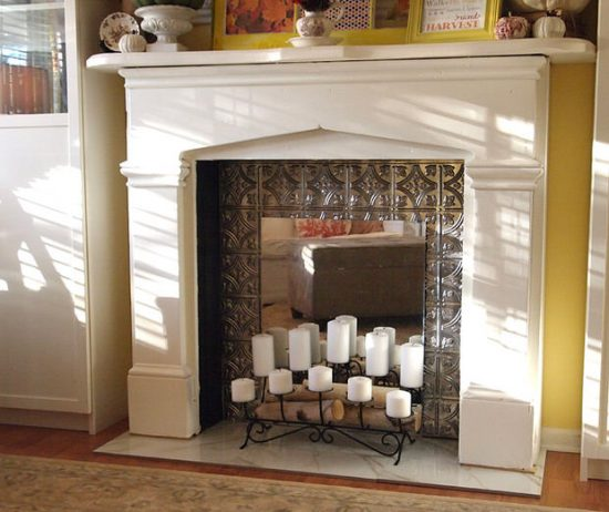 faux fireplace