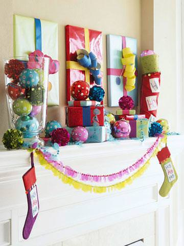 DIY colorful mantel