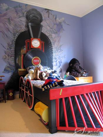 Diy train bedroom for kids the budget decorator for Toddler train bedroom