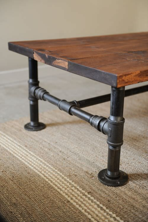 Diy coffee table projects the budget decorator for Rustic pipe table