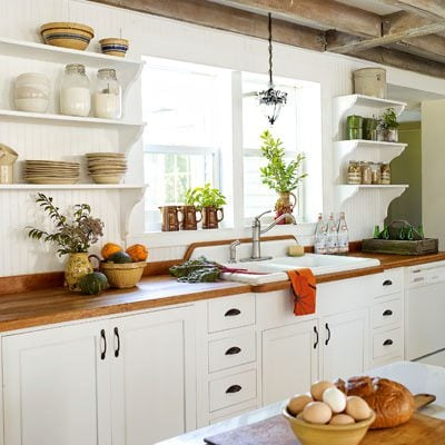 add country colors  we are so used to white kitchens we often don u0027t even think to add color to this room but color adds country charm to a room more than     today u0027s country kitchen decorating  u2022 the budget decorator  rh   thebudgetdecorator com