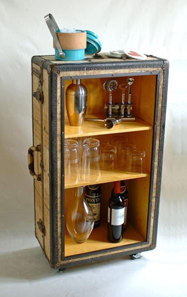 suitcase bar cart