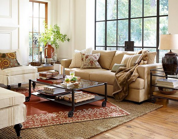 Beau Formal And Warm Living Room With Area Rugs