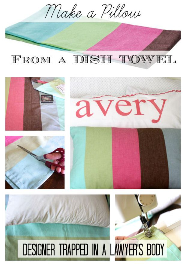 Pillow from dish towel
