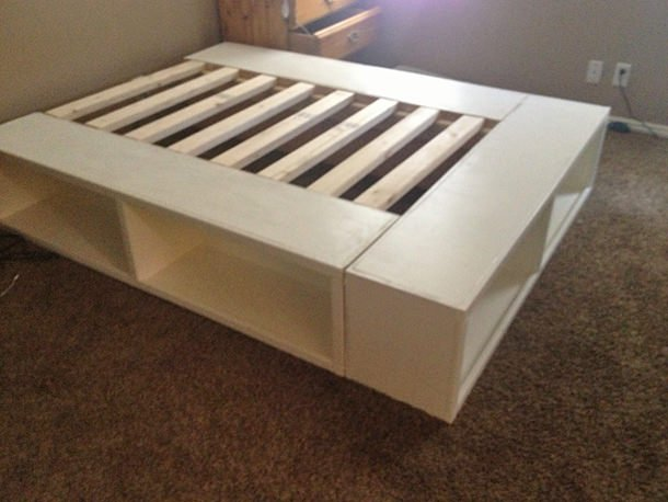 last we have the bed that chris made a diy bed frame from something is done i love this bed because it is simple enough to be used in any style
