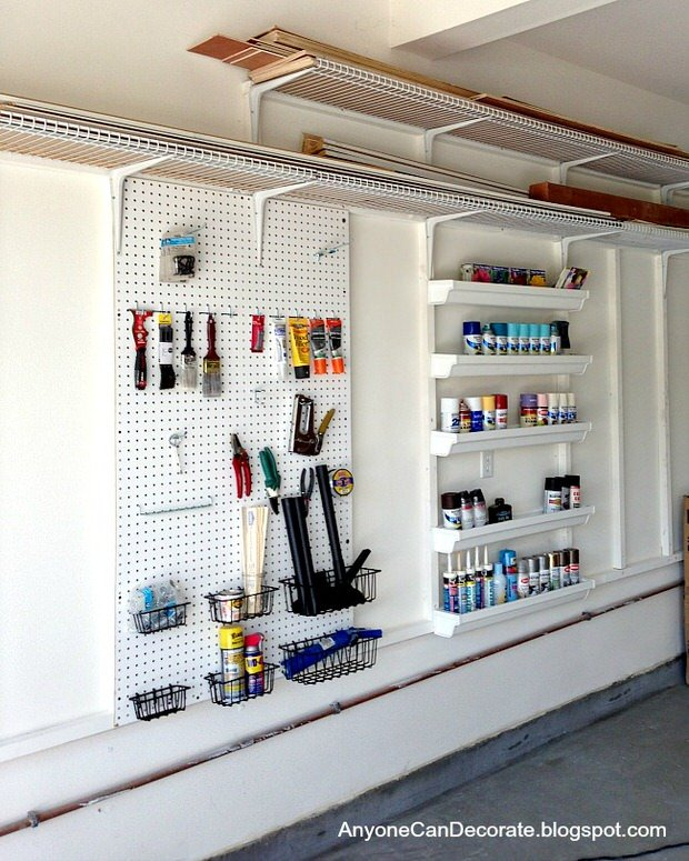 From Family Handyman Here Are A Few Good Garage Storage Ideas Use Pie Tins Cut In Half To Safely Those Circular Items You Need