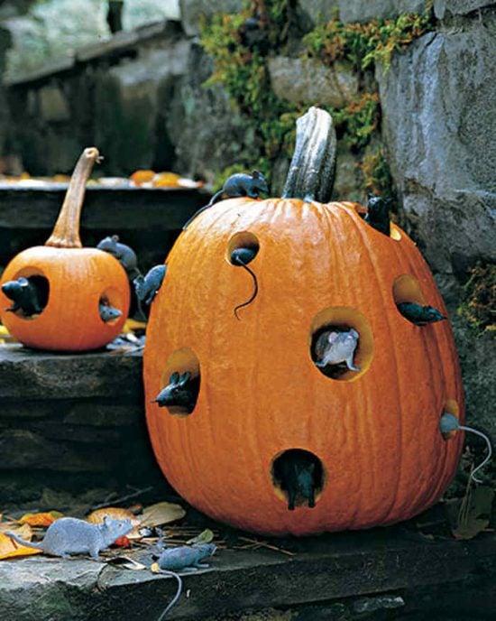 DIY Halloween Decorations, Ideas & Projects- Mice in Pumpkin