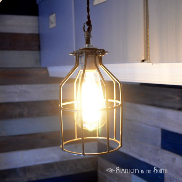 make an industrial pendant cage light inspired by restoration hardware