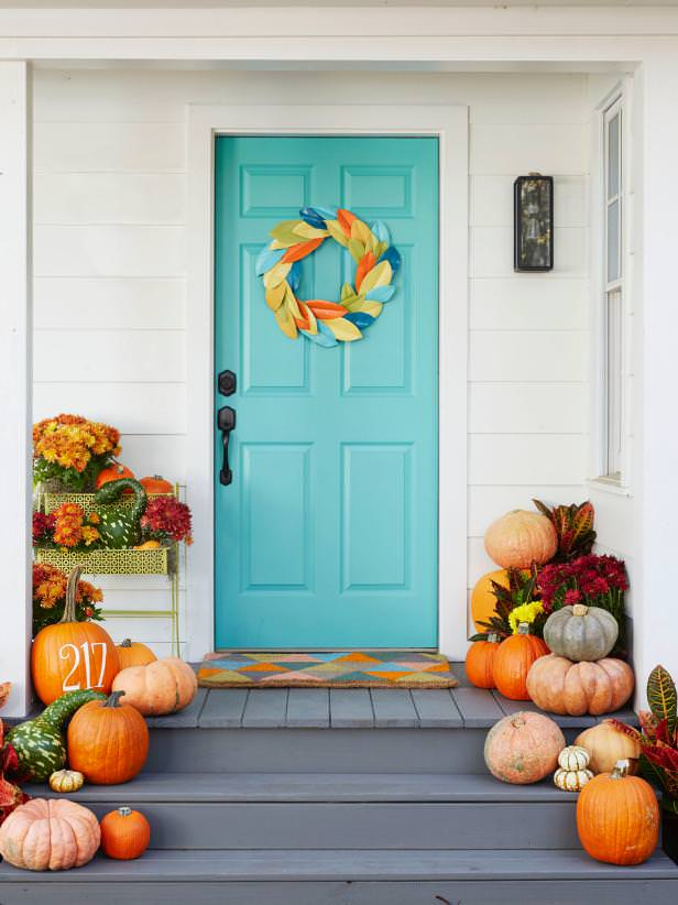 Carve Or Paint Designs Messages On The Pumpkins Check Out These Front Porch Fall Decorating Do S And Don Ts From Hgtv Love White