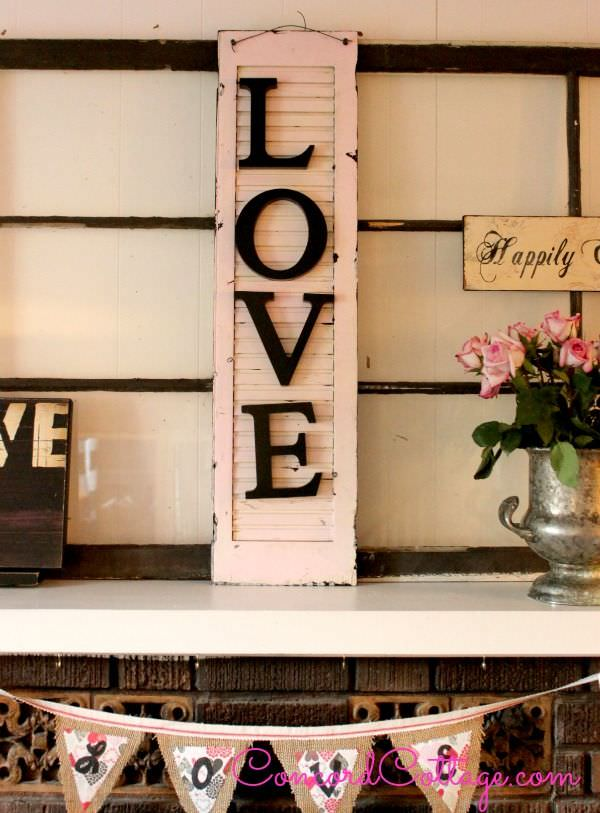 Diy projects with letters the budget decorator for Decorating with old windows and shutters