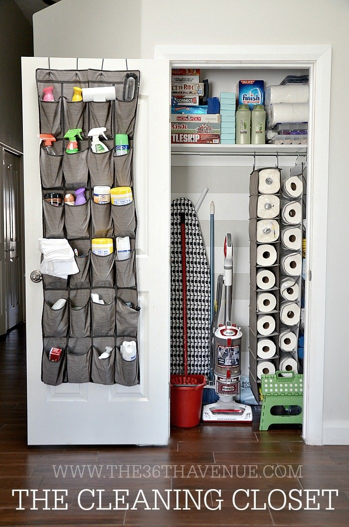 Finally, We Love This Cleaning Closet From U0027The 36th Aveu0027! Most Dollar  Stores Sell These Shoe And Sweater Organizers That Would Be Perfect For  Setting Up ...