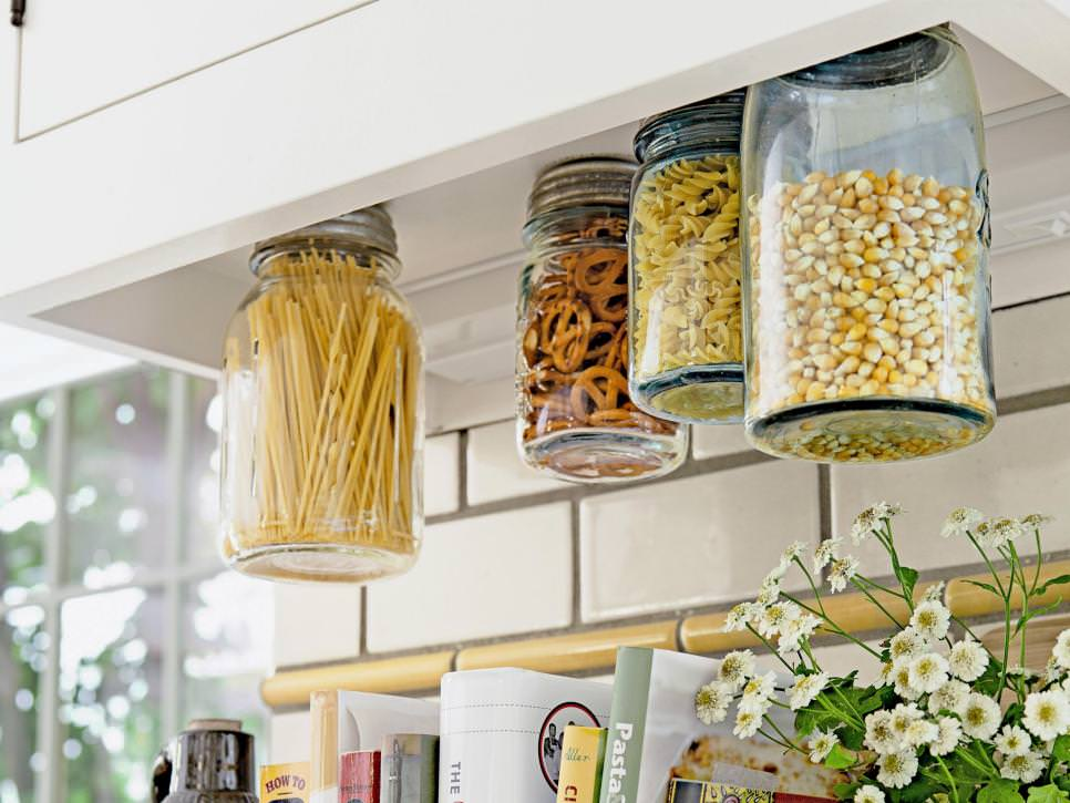 ... For A Farmhouse Kitchen To Save Space In The Pantry. Screw Mason Jar  Lids To The Underside Of Your Upper Cabinets, Then Fill The Jars With  Staples And ...