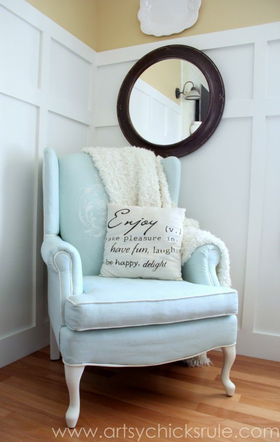 Chalk-Painted-Upholstered-Chair-Makeover-After-Styled-artsychicksrule.com-paintedupholstery-chalkpaint-diy-570x900