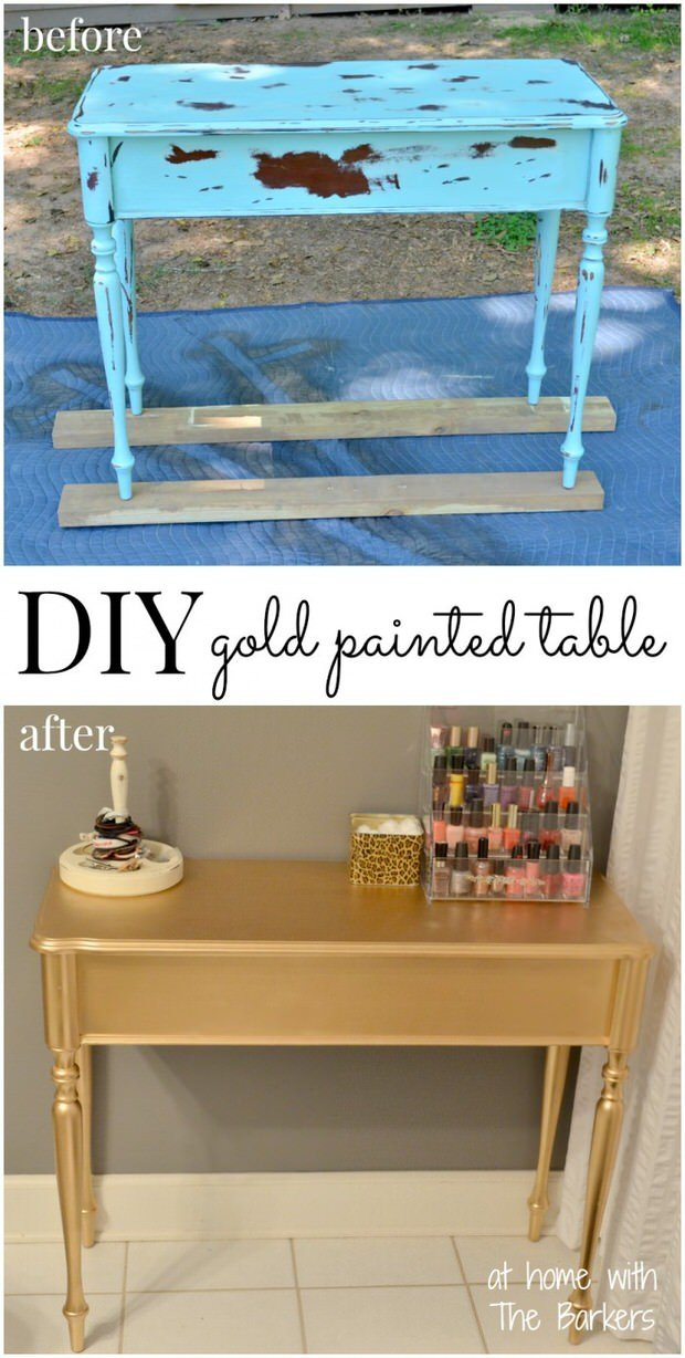 DIY-Gold-Painted-Table-Before-After-700x1386