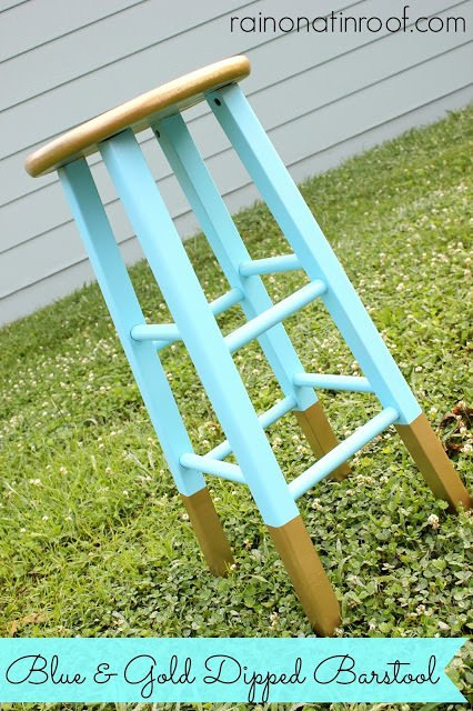 blue and gold dipped barstool 2