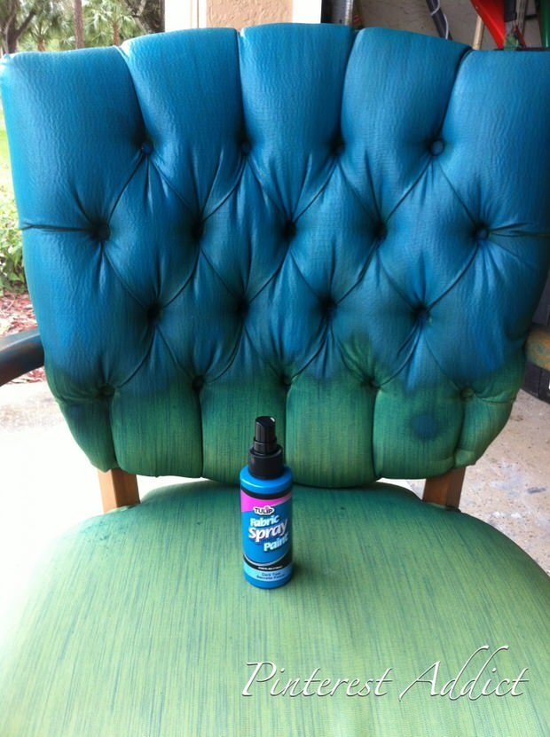 green-blue-chair1-764x1024 & How to Paint Fabric Furniture u2022 The Budget Decorator