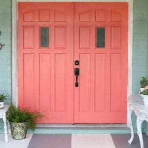 Painted Front door from Yellow to Coral