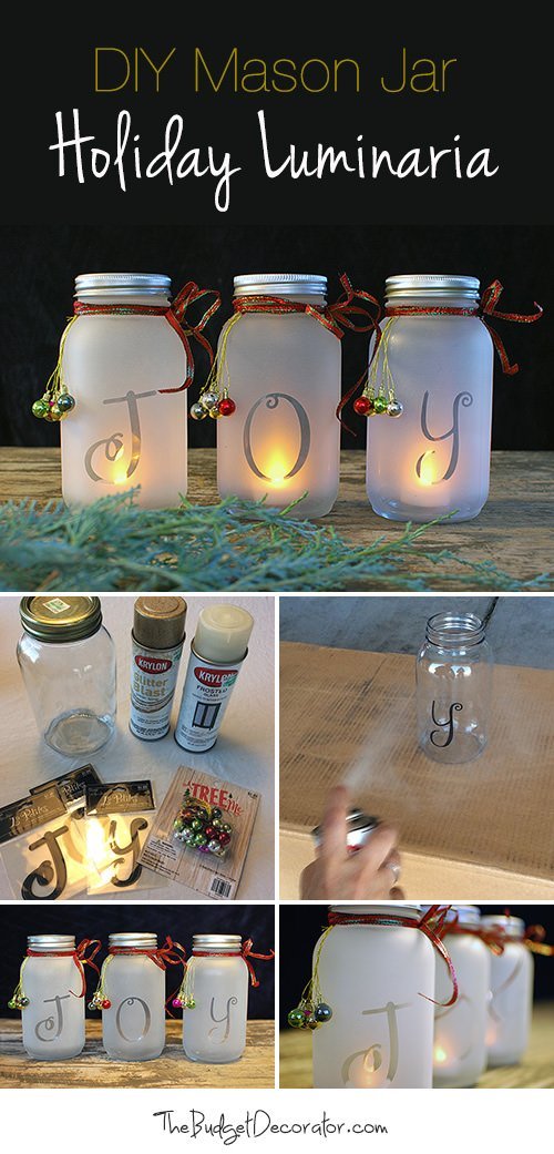 diy mason jar holiday luminaria