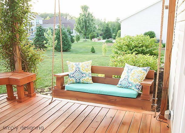 12 diy backyard ideas for patios porches and decks the for Building a front porch deck
