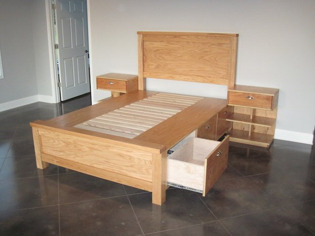 White King Size Bed With Drawers Underneath