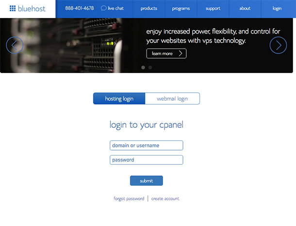 9- Bluehost cPanel Login