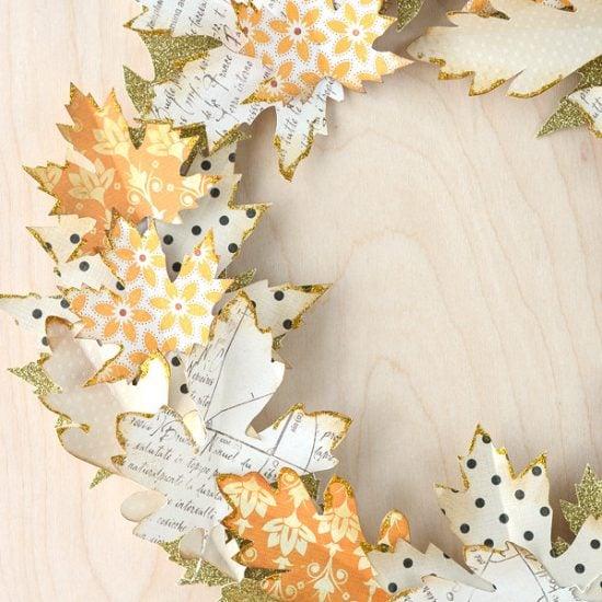 Fall Crafts : DIY Fall Leaf Decor- Paper Fall Leaf Wreath