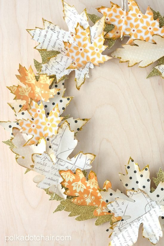 Fall Crafts : DIY Fall Leaf Decor- Paper Fall Leaf Wreath