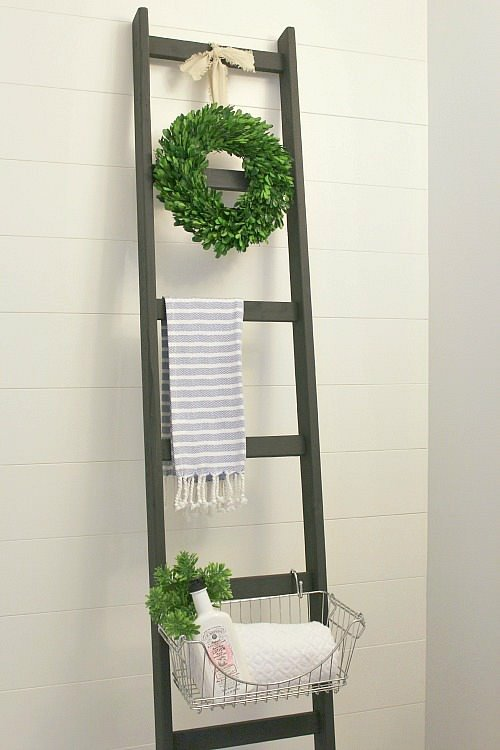 Diy bathroom decor storage the budget decorator for Bathroom decor ladder