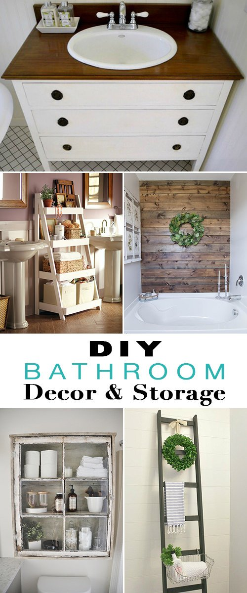 First of all, from 'Home Depot', these DIY bathroom storage shelves have nine steps, downloadable instructions, and step by step photos.