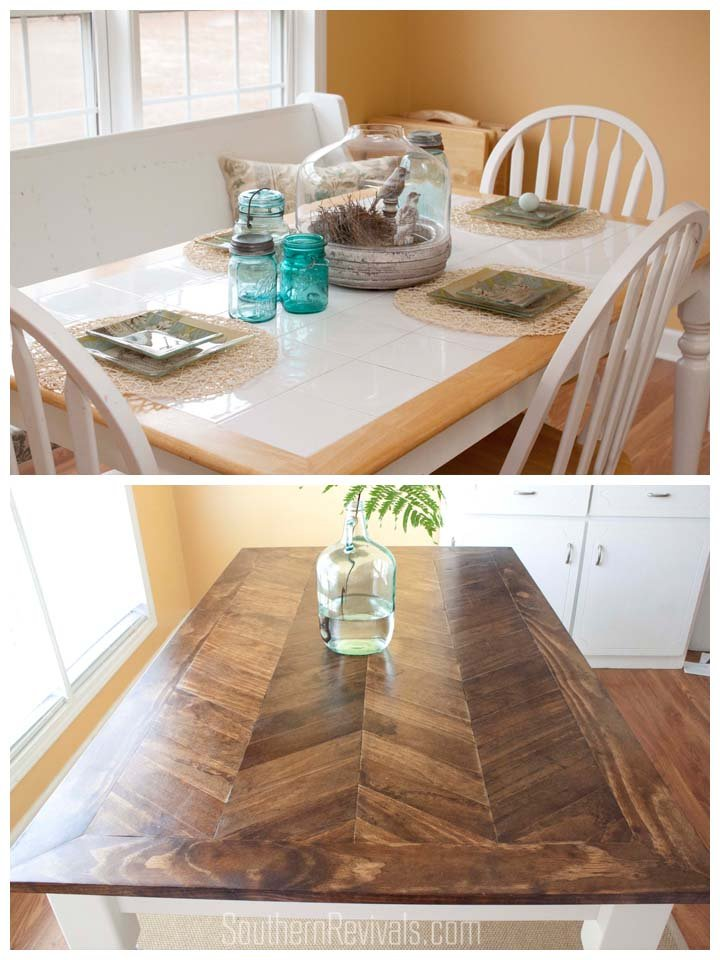 diy dining table makeovers before afters u2022 the budget decorator rh thebudgetdecorator com redo kitchen table and chairs redo tile kitchen table