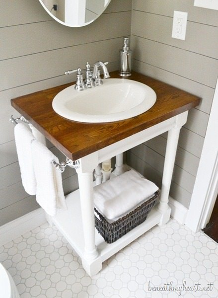 Learn how to build a butcher block vanity from beneath my heart