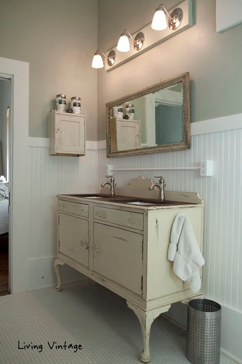 Vintage is another example of a vintage dresser as a bathroom vanity
