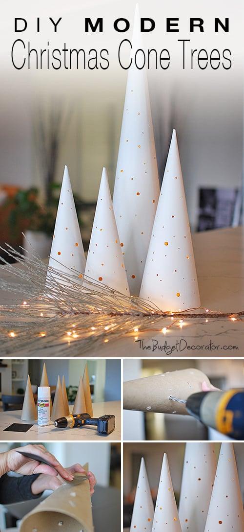 diy modern christmas cone trees