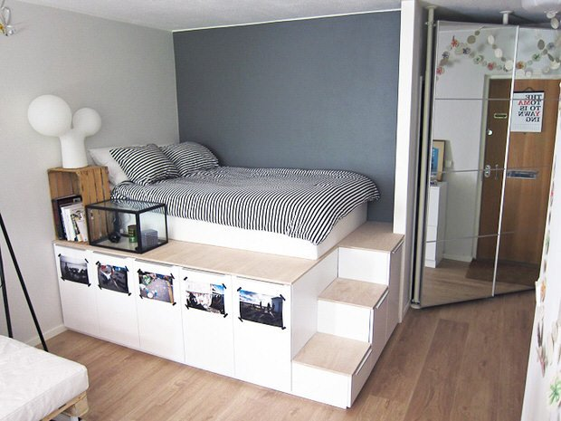 Diy storage bed projects the budget decorator for Hochbett 140x200