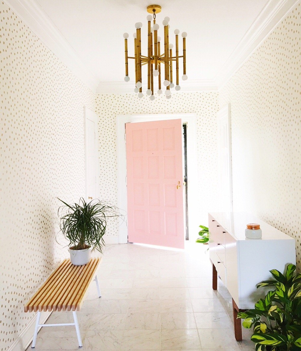 10 chic stylish entryway makeovers the budget decorator for Entry hall wallpaper ideas