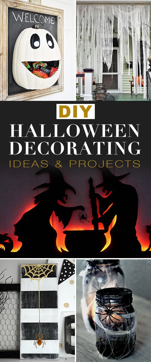 Here we have some quick and thrifty DIY Halloween decorations from u0027The Happy Housieu0027. We love the pops of yellow in this black and white themed mantel ... & DIY Halloween Decorating Ideas u0026 Projects u2022 The Budget Decorator