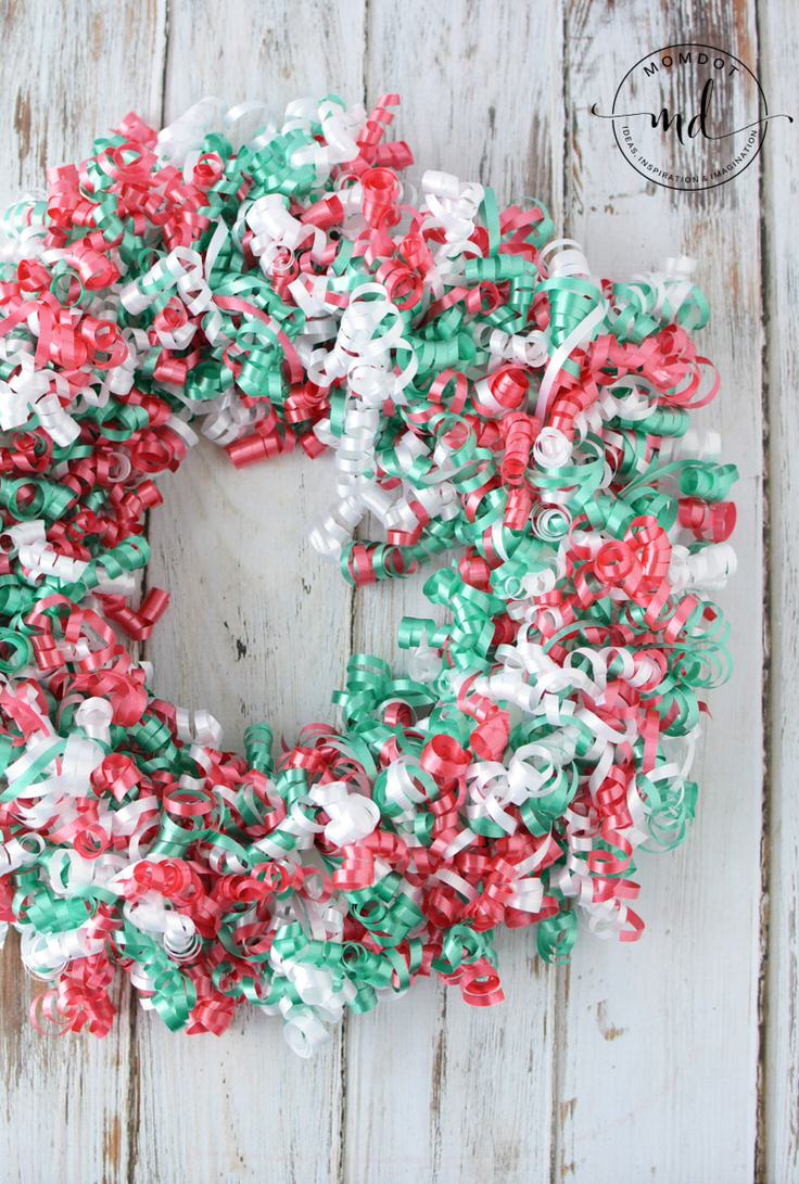 want something fun an easy and cheap try this diy christmas wreath made from curling ribbon from mom dot - Homemade Christmas Wreath Ideas