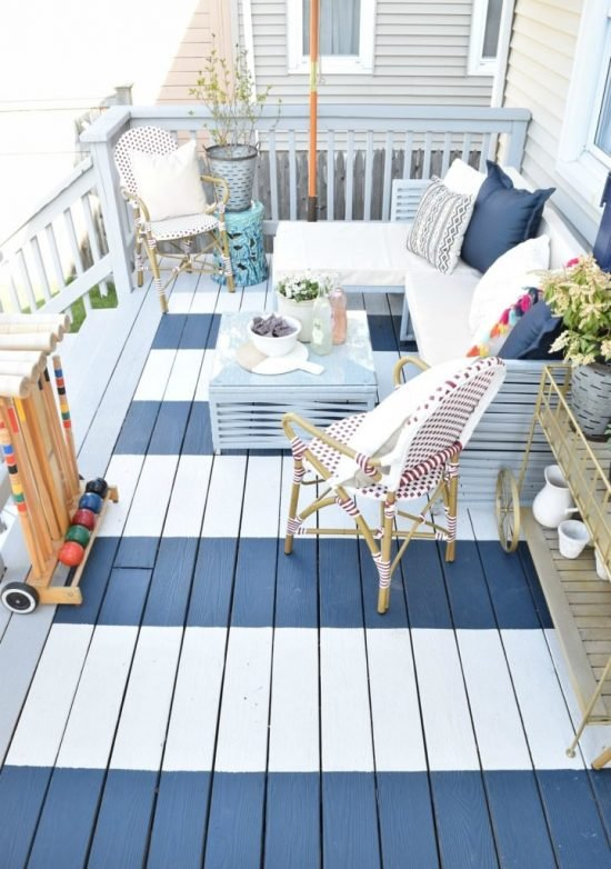 12 DIY Ideas for Patios, Porches and Decks- Painted deck